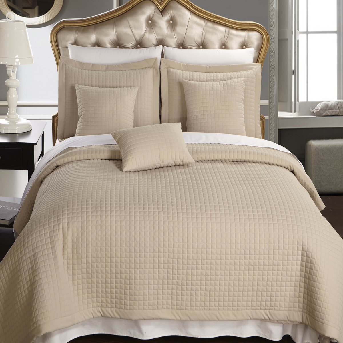 California King size Linen / Beige Coverlet 3pc set, Luxury Microfiber Checkered Quilted by Royal Hotel