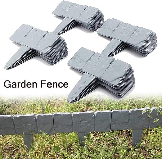 REALMAX® - Adoquín de plástico efecto piedra para jardín (bordillo), color gris oscuro, 10 unidades: Amazon.es: Jardín