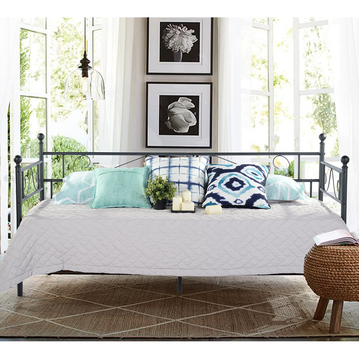GreenForest Twin Size Daybed Couch Bed Frame/Steel Slats Platform Strong Support/Box Spring Replacement/Day Bed Frame