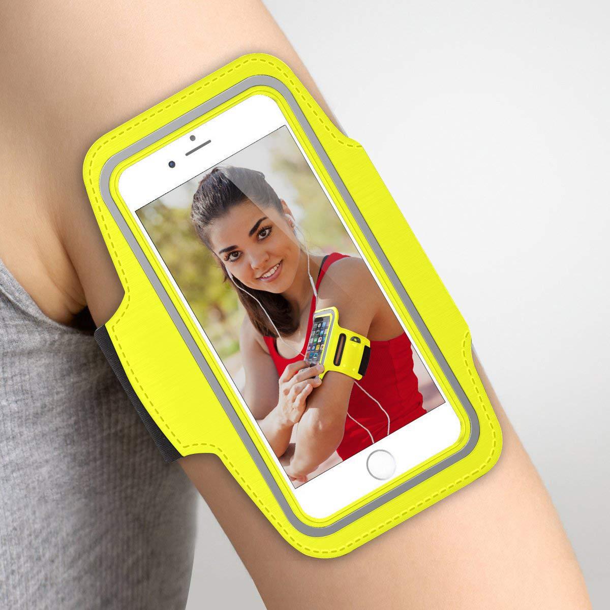 Giallo Fascia da braccio sportiva Samsung Galaxy Note 8 in neoprene anti-scivolo anti-sudore con tasca per le chiavi cavi carte fascia da braccio Samsung Note 8 fascia braccio Samsung Note 8