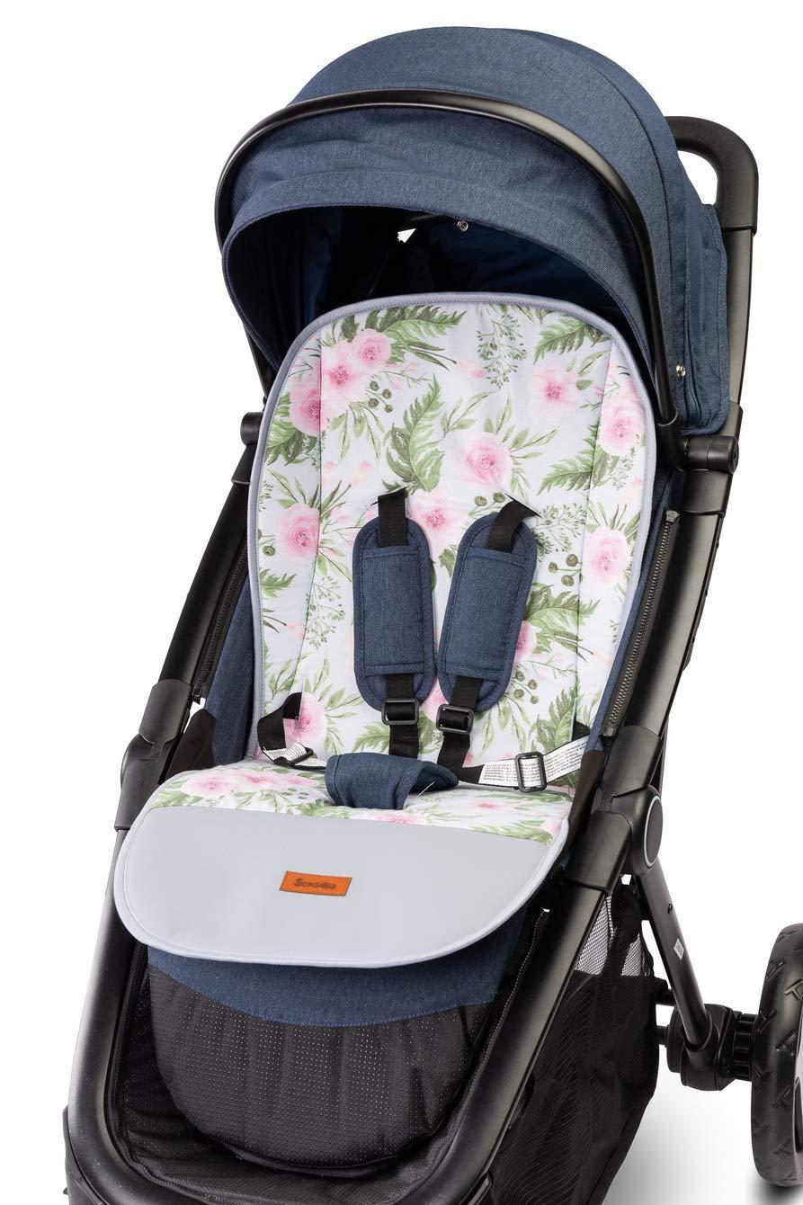 Garden Rosa Universal Sitzauflage f/ür Kinderwagen Buggy 80 x 40 cm Velvet Auflage Kinder-Sitzauflage Kindersitzauflage gemustert Wendeauflage 2-seitig Babysitz Buggy Fu/ßschutz