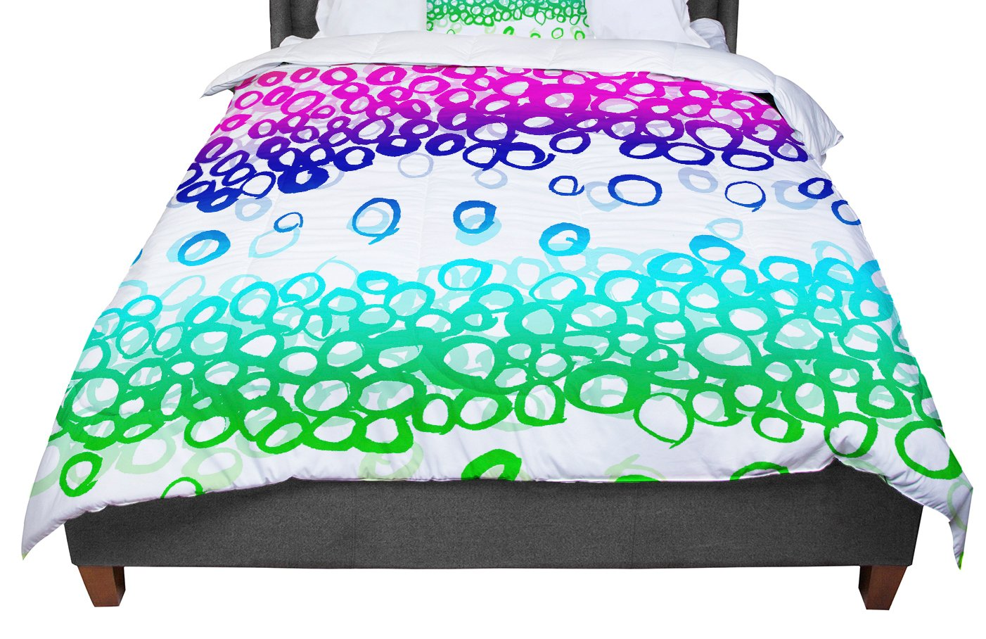 KESS InHouse Emine Ortega 'Pebble Row' Teal Green King / Cal King Comforter, 104' X 88'