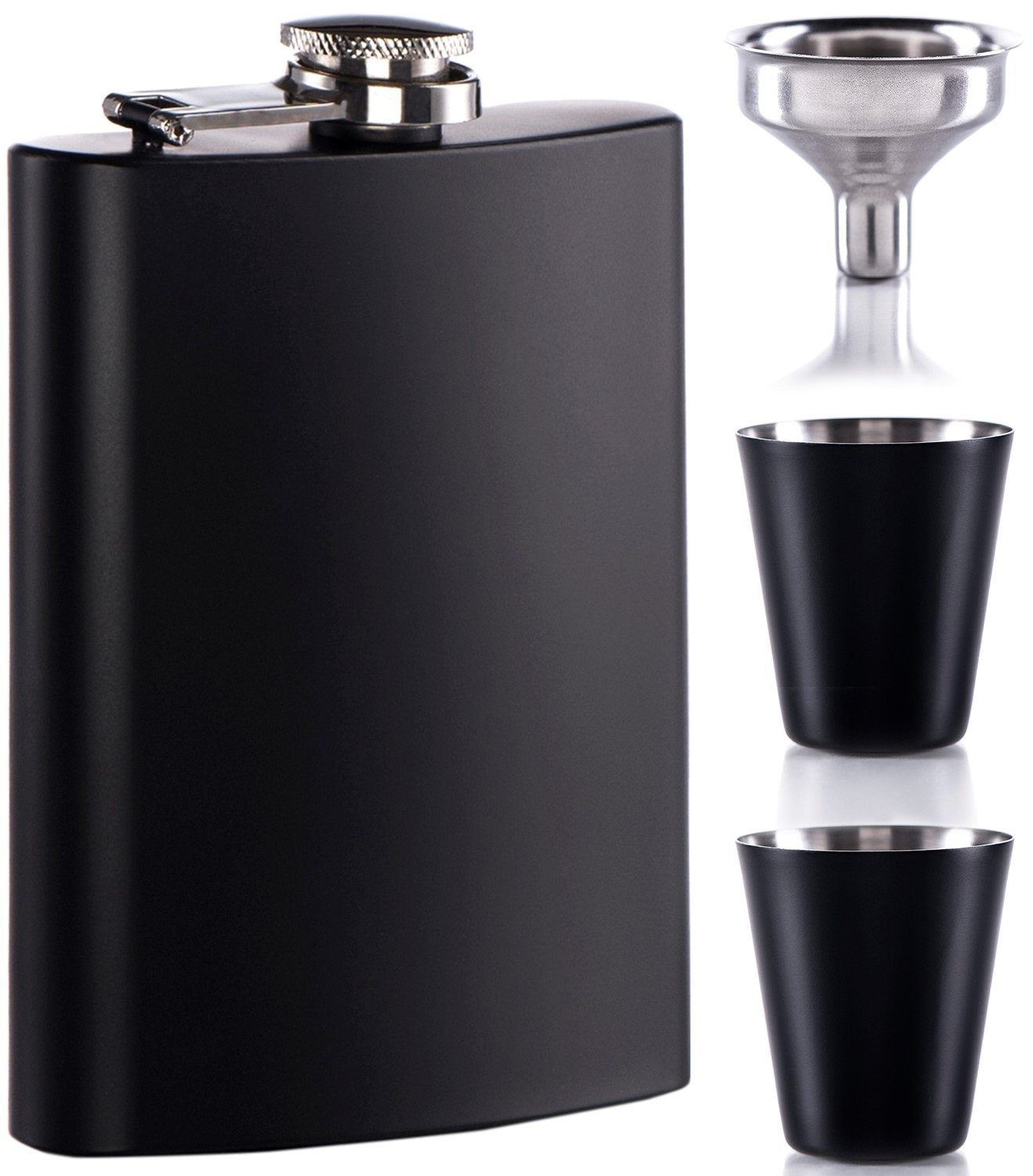 8 oz Black Flask with Shot Glass for Liquor for Men Metal Stainless Steel Flasks by Murkon (Image #1)