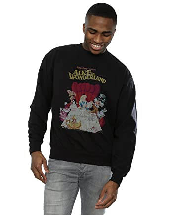 Amazoncom Disney Mens Alice In Wonderland Retro Poster Sweatshirt