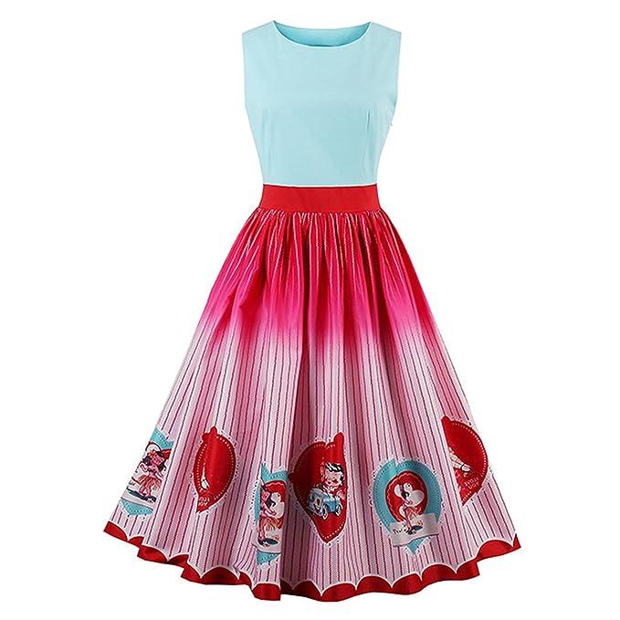 better-caress 1950s Vintage Pink Knee Length Women 2018 O Neck Rockabilly Print Sleeveless,