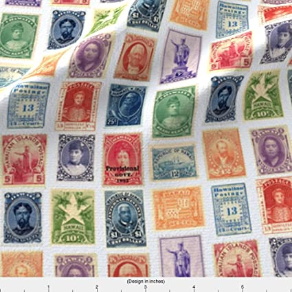 Spoonflower Stamp Collection Fabric Hawaiian Postage Stamps Life Sized On White By Weavingmajor Printed