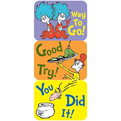 Eureka Dr. Seuss Classroom Supplies Back to School Stickers, 120 pc, 1.4\'\' W x 1\'\' H: Office Products [5Bkhe0301757]