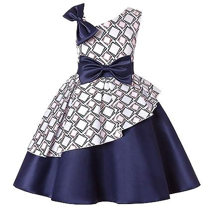 38a22822c Zhao Li Vestido de Hombro Inclinado de Las niñas Falda a Cuadros ...