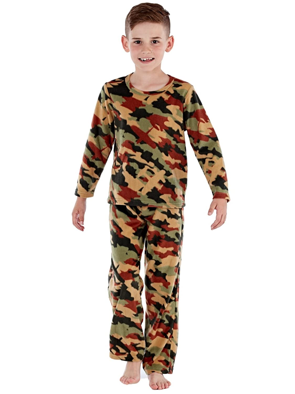 ba5bc592e7 Boys fleece pyjamas camo pjs set pajama sleepwear nightwear long sleeve
