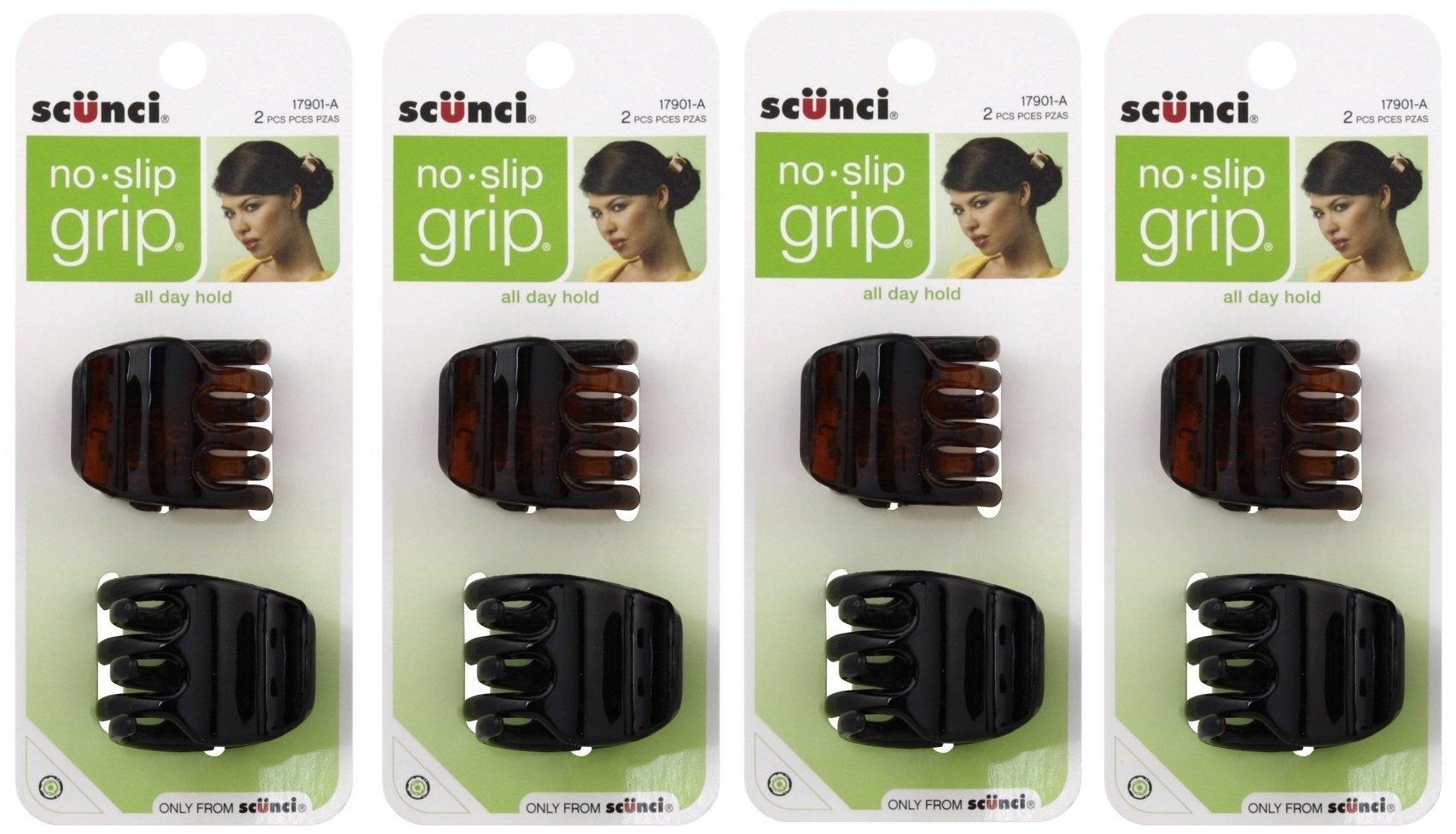 Scunci No-Slip Grip Jaw Clips, 3.5cm, 8 Count
