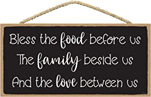 Bless the Food Before Us the Family Beside Us - Blessed Signs for Home Decor Wall - Eat Pray Love Decor Kitchen - Kitchen Prayer Wall Decor
