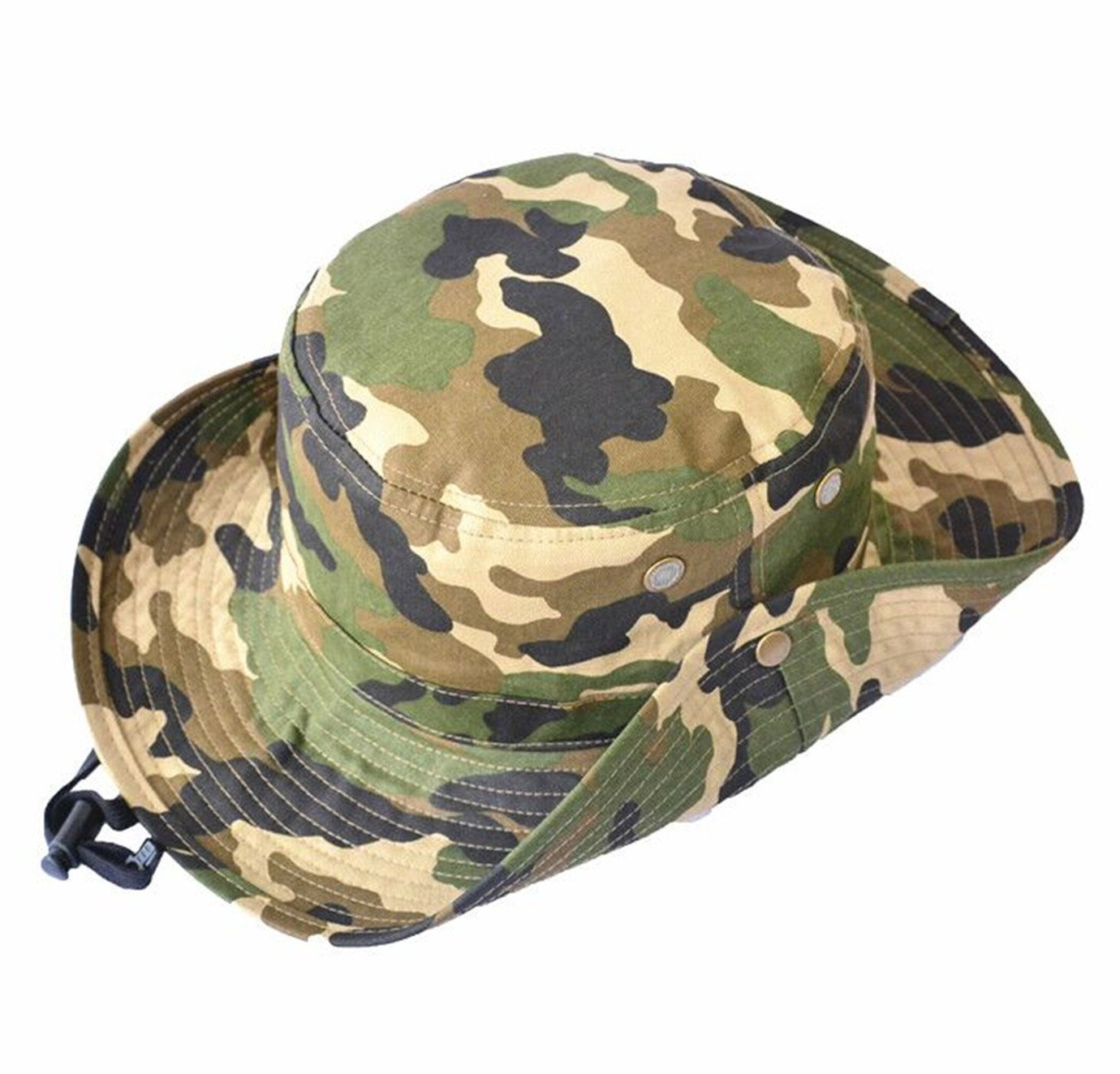 910ab6f41f259 Mens Bucket Hat Boy Camouflage Hat Alpine Cap Cotton Sun Protection Fishman  Hat with Drawstring Strap Over 14 Year Green