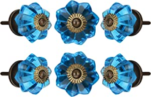Set of 6 Crystal Glass Knobs Kitchen Cabinet Cupboard Glass Door Knobs Dresser Wardrobe and Drawer Pull by Perilla Home (Blue)
