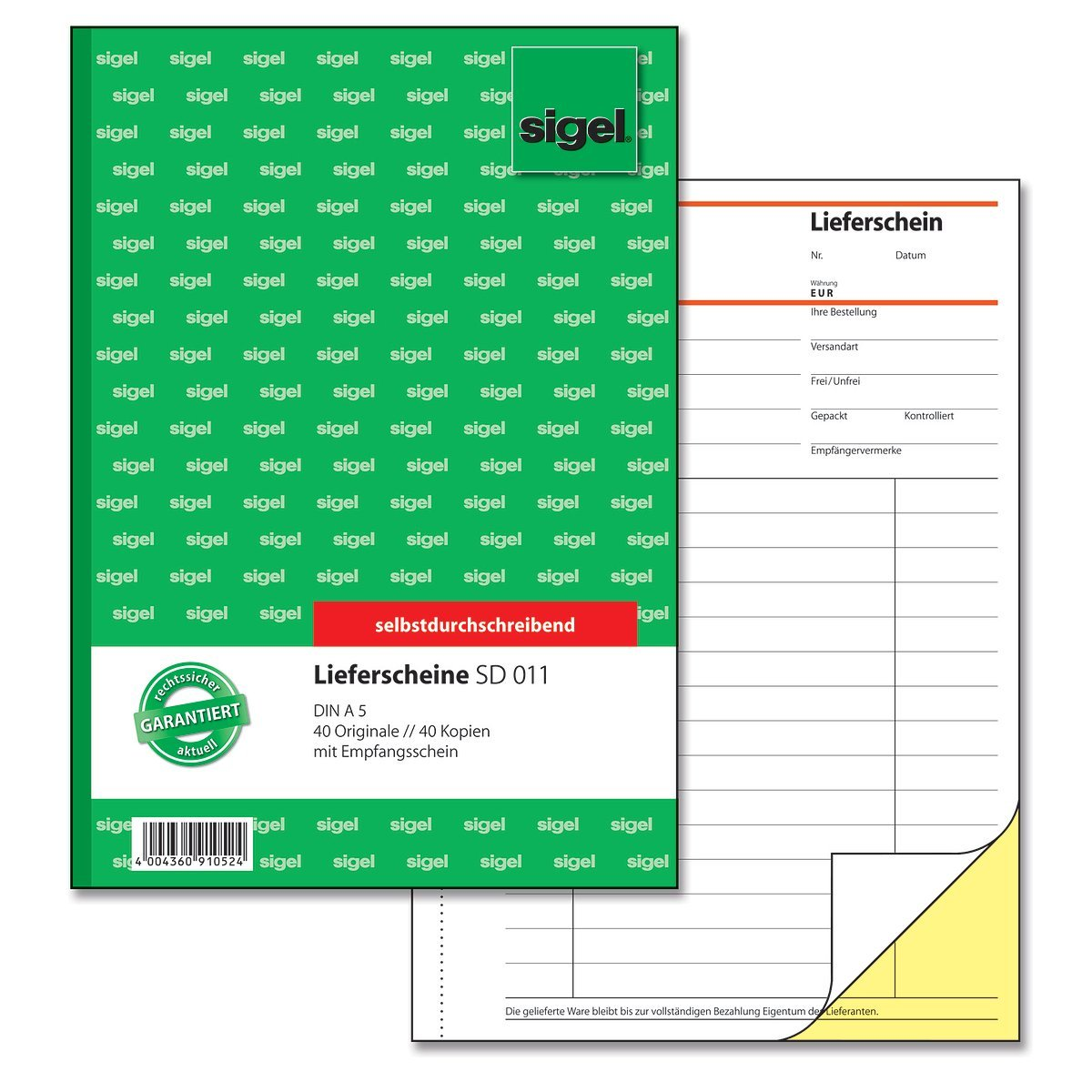selbstdurchschreibend SIGEL SD011 Lieferscheine A5 1 St/ück 2x40 Blatt