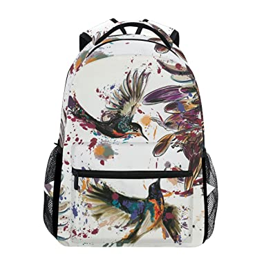 c44413180b48 Image Unavailable. Image not available for. Color  Backpack Travel Bird  Flower Painting School Bookbags Shoulder Laptop Daypack College Bag ...