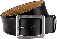 Eg-Fashion Herren Gürtel aus Büffelleder Herren Jeansgürtel Casual Style in 4,5 cm Breite - Massige Schnalle - Individuell kürzbar