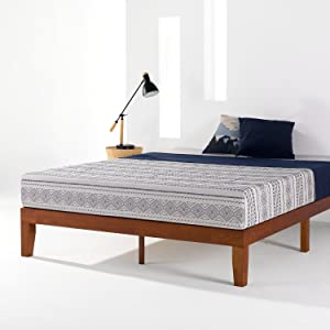 """Mellow 12"""" Classic Soild Wood Platform Bed Frame w/Wooden Slats (No Box Spring Needed) King Cherry"""