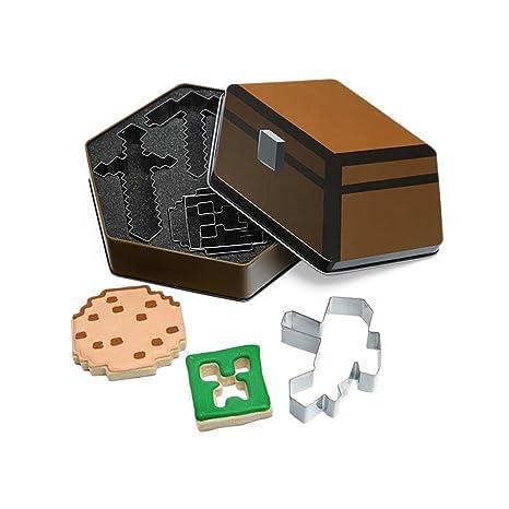 Minecraft - caja de galletas y moldes para galletas - con las formas del Creeper,