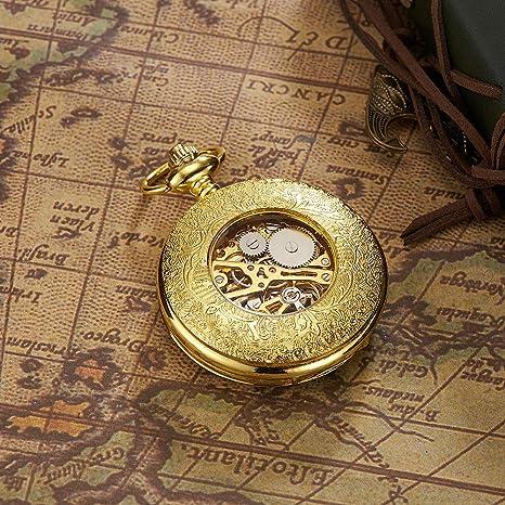 reloj de bolsillo Esqueleto Cara Abierta Hombres Números Romanos Antiguos Cadena/Mano Viento Mecánico, mecánico de Flip-up mecánico de época: Amazon.es: ...