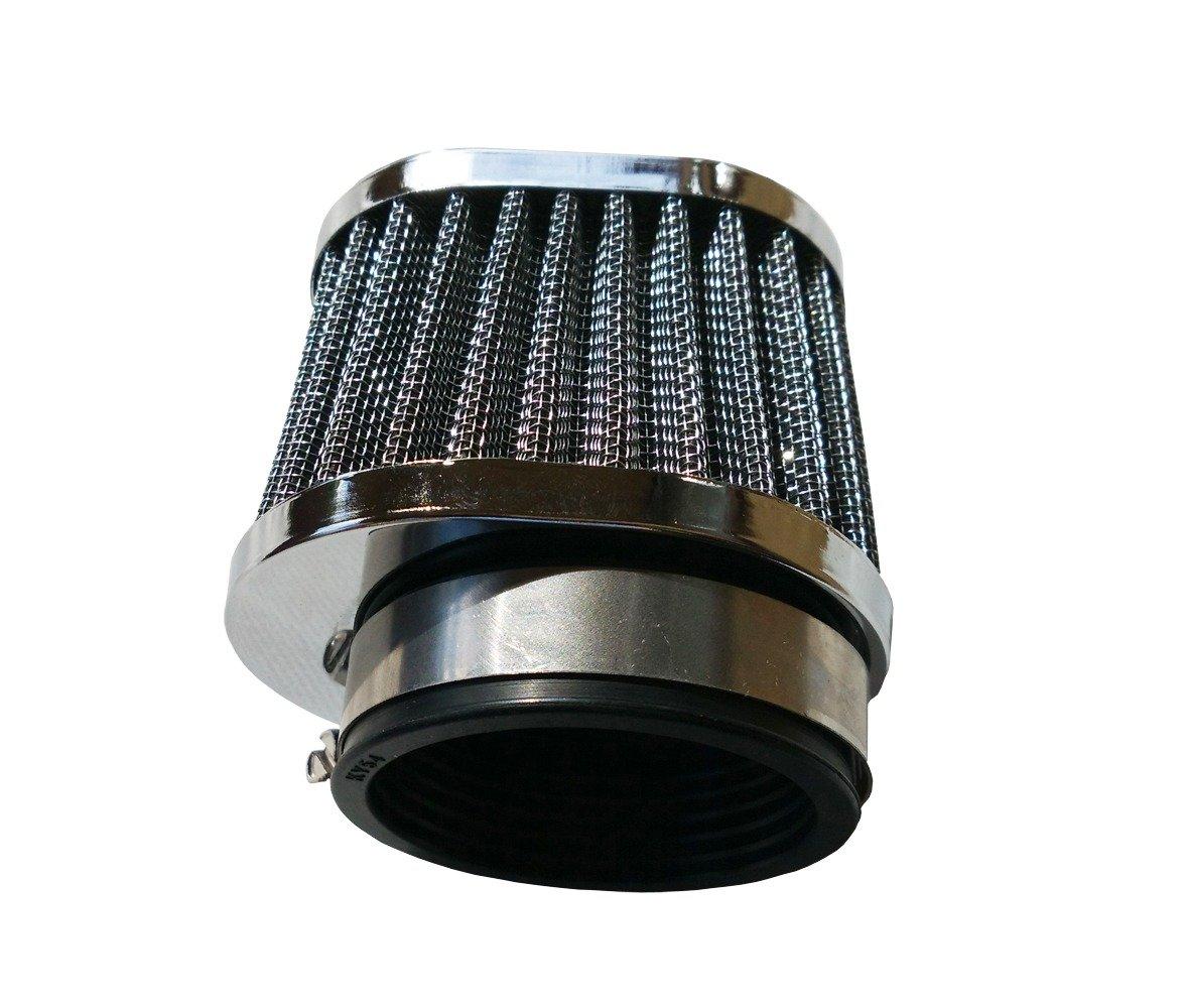 AlphaMoto FOUR Oval POD Air Filters SUZUKI 52MM SUZUKI YAMAHA KAWAZAKI CHROME CAP
