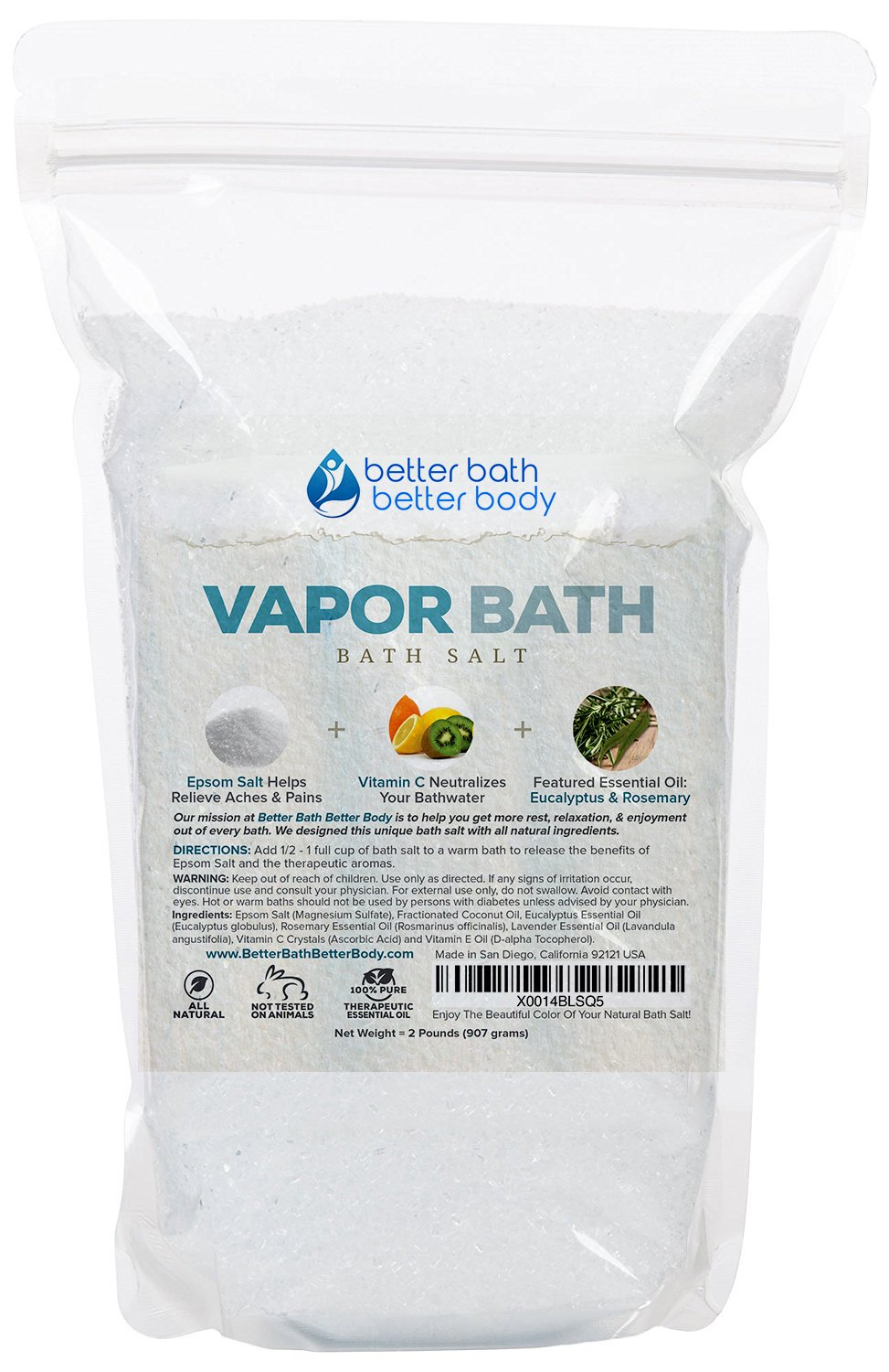 Vapor Bath Salt 32oz (2-Lbs) Epsom Salt With Eucalyptus & Rosemary Essential Oil & Vitamin C Crystals - Soothing Vapors To Relax & Release Natural Bath Soak With Zero Perfumes Zero Dyes Better Bath Better Body