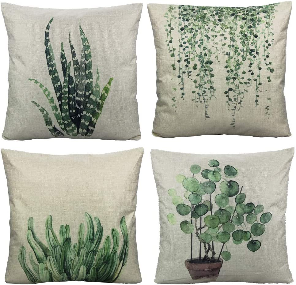 All Smiles Green Plants Throw Pillow Cover Decorative Square Pillow Cover Cushion Cover Pillow Cover Set of 4