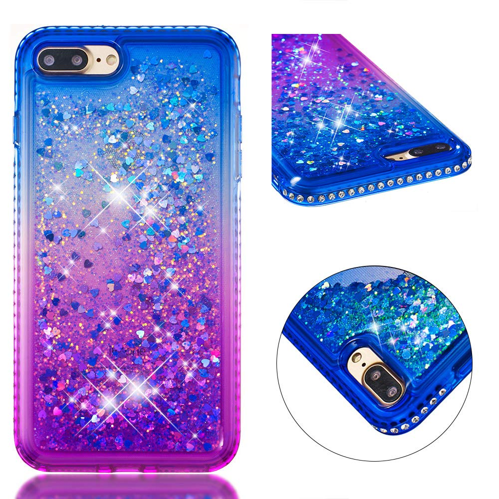 for iphone 7/iphone 8 Case Glitter Liquid and Screen Protector,Gradient Colors Design Shiny Diamond Frame Clear Slim Fit Protective Phone Case,QFUN Bling Sparkle Floating Quicksand Back Cover Shockproof Anti-Scratch Soft TPU Bumper - Gray and Pink