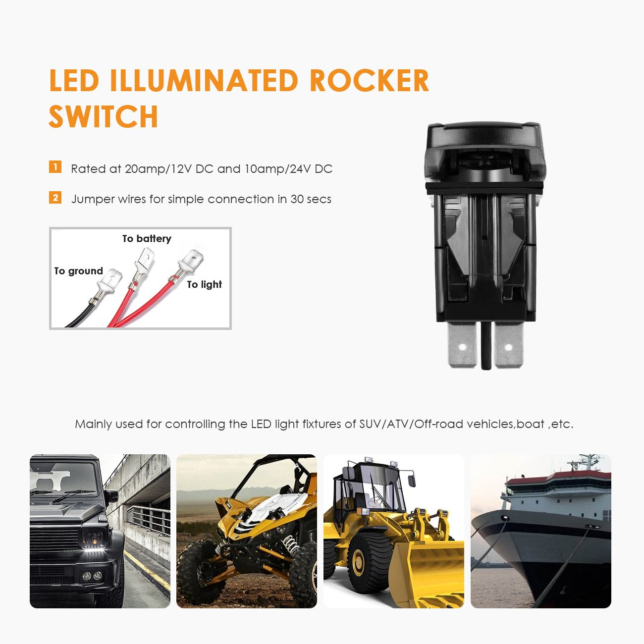 Auxbeam Led Light Bar Rocker Switch With 3pcs Switching Wiring Using Non Factory Toggle Lines Loom Harness Kit Fuse And Relay Automotive