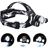 Boomile Rechargeable Headlamp, Super Bright Head Torch, LED Headlight, 6000 Lumens Waterproof Head Lamp with 4 Brightness Modes, Perfect for Running, Camping, Outdoor Hiking and Walking