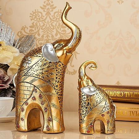 Amazon De 2 Teilig Elefant Figur Deko Skulptur Statue Gluck Deko