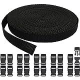 (15MM+20PCS) - RETON 15mm Wide 10 Yards Black Nylon Webbing Strap + 20 PCS Adjustable Buckles Plastic Side Release…