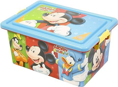 Mickey Mouse Contenedor 13 litros con Tapa y Cierres, Caja organizadora (STOR 04485): Amazon.es: Juguetes y juegos