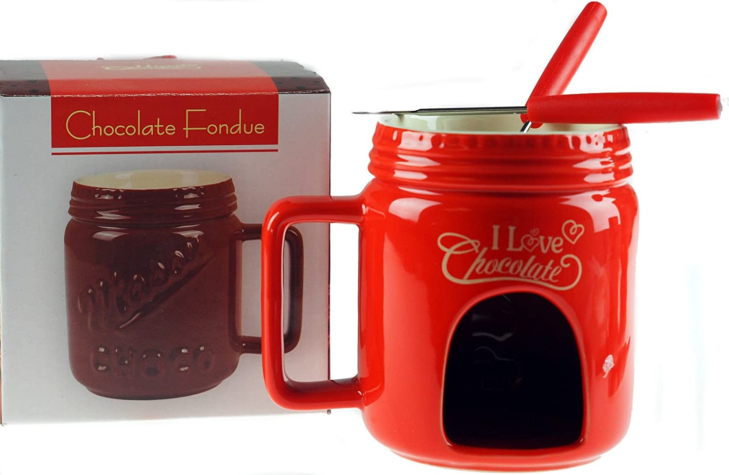 Chocolate Fondue Mug Gift Set - Red Design l&p