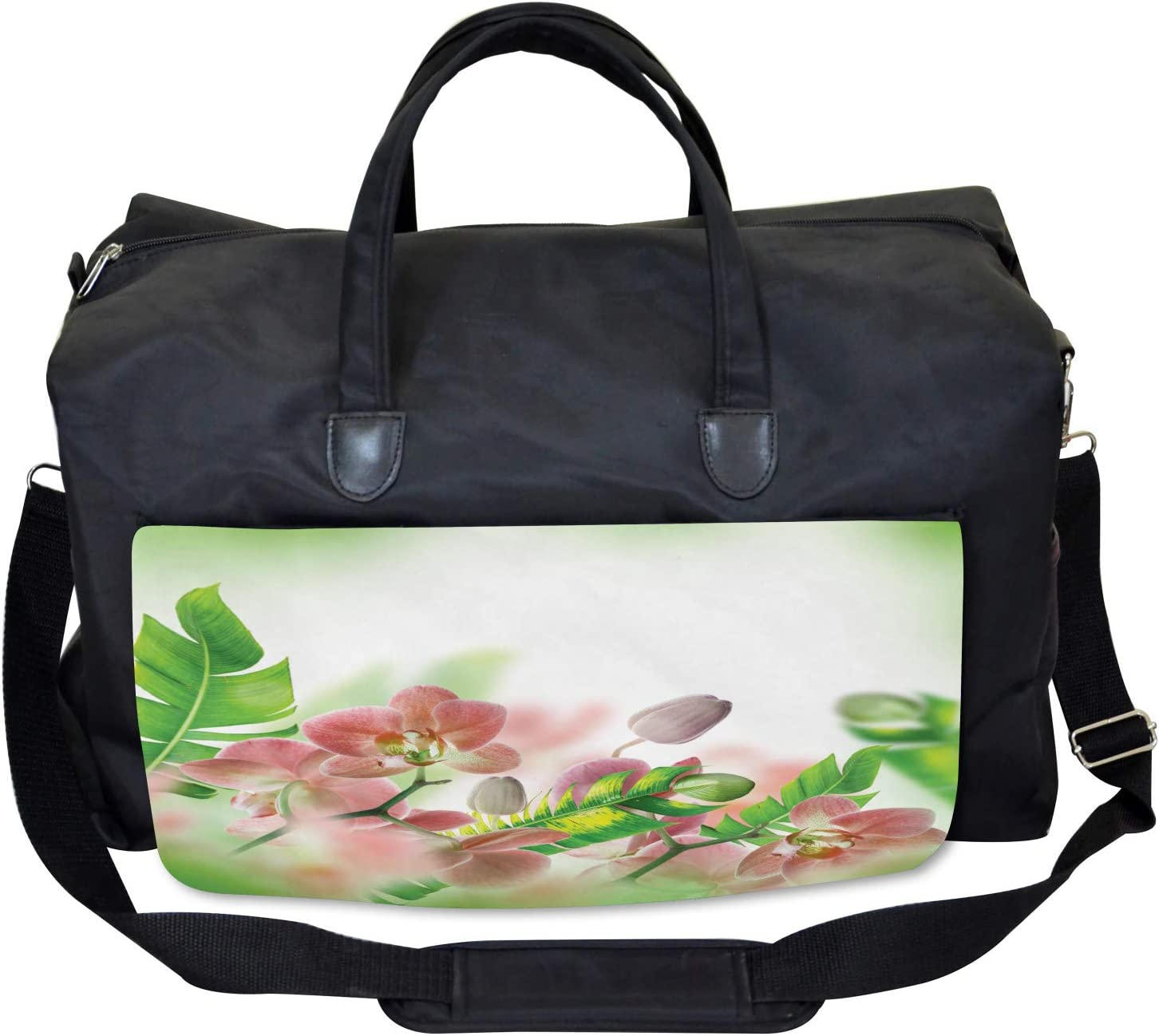 Ambesonne Spring Gym Bag Orchids Blossoms Leaves Large Weekender Carry-on