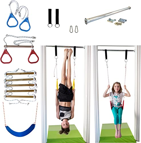DreamGYM Indoor Swing and Play Set Trapeze Bar Combo, Gymnastic Rings, Rope Ladder Belt Swing