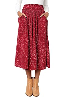 adde3b545f PRETTYGARDEN Women's Fashion High Elastic Waist Polka Dot Printed Pleated  Midi Vintage Skirts with Pockets