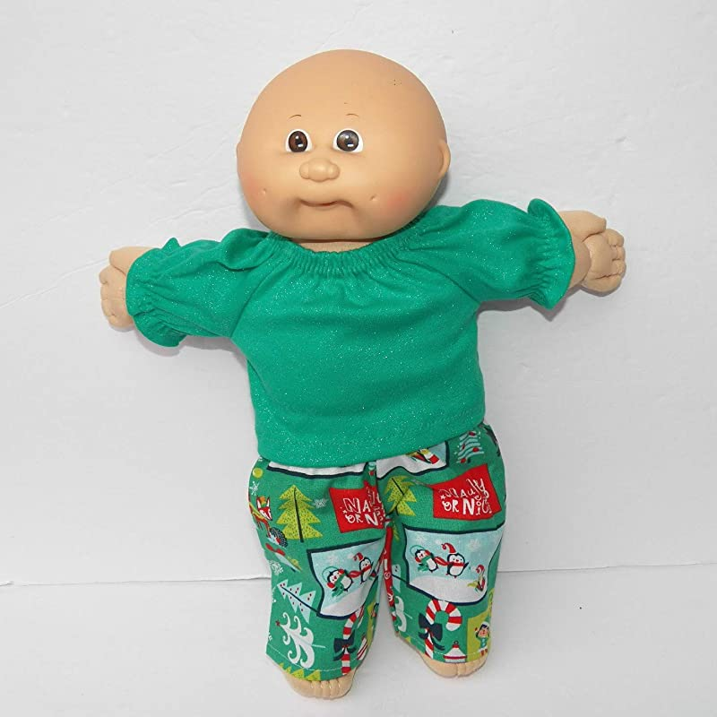 Christmas Cabbage Patch Doll Clothes 14 Inch Preemie Green T Shirt and Elf Pants