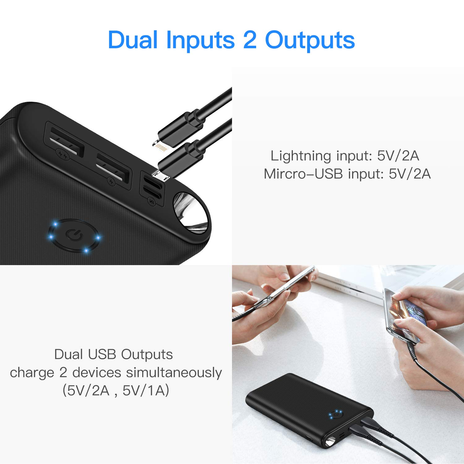 Power Bank Portable Charger 26800mAh Battery Pack Cell Charger with Dual Inputs and Dual Outputs Backup Battery,Power Indicator Flashlight Design Compatible with Tablets Smart Phones and other Devices
