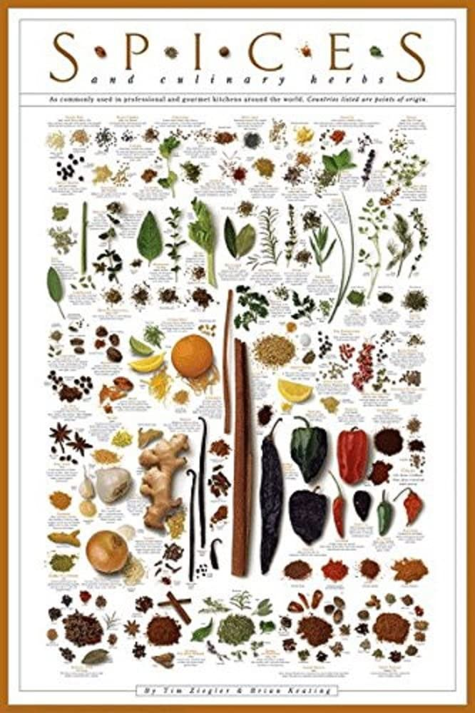 Picture Peddler Spices and Culinary Herbs Gourmet Kitchen Cooking Print Poster 24x36