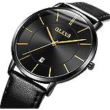OLEVS Minimalist New Men's Ultra Thin Retro Yellow/Brown/Black/Deep Blue PU Leather Band Quartz Wrist Watches, Waterproof & Calendar Window