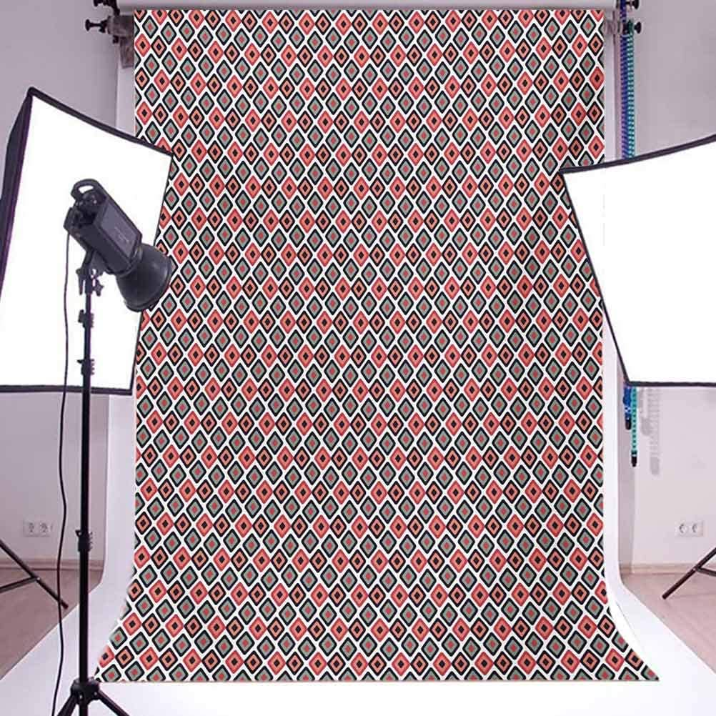 10x12 FT Backdrop Photographers,Diagonal Checked Pattern of Squares in Pastel Colors Vintage Style Artwork Background for Kid Baby Boy Girl Artistic Portrait Photo Shoot Studio Props Video Drape