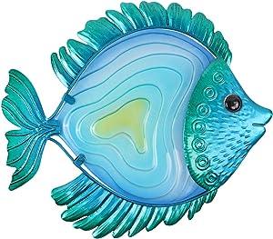 MDLUU Metal Fish Wall Decor, Tropical Fish Wall Art, Fish Hanging Decor for Yard, Patio, Bathroom (Blue)