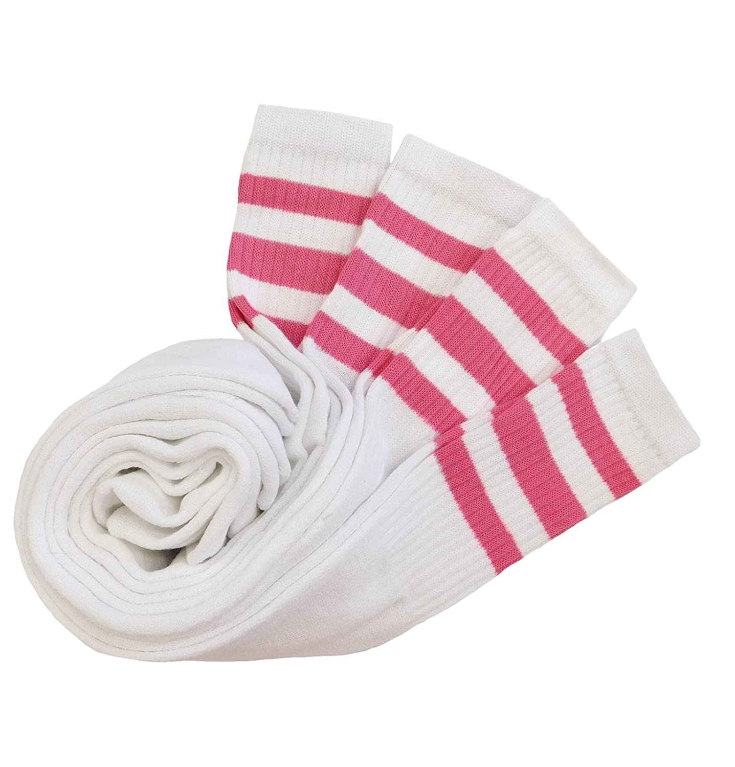 TUBE SOCKS 22LONG 8-PAIRS WHITE WITH 3 PINK STRIPES