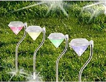 Diamond solar camino luz eleva Beautiful decorar tu jardín y transformar su paisaje Iluminación 4 pcs: Amazon.es: Iluminación