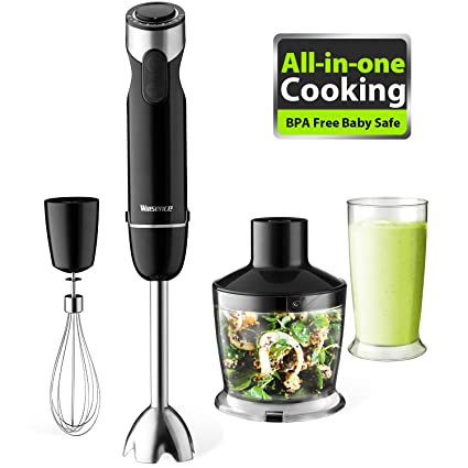 Willsence Batidora de mano, 600 Watts 4-en-1 Potente Blender con 500ml