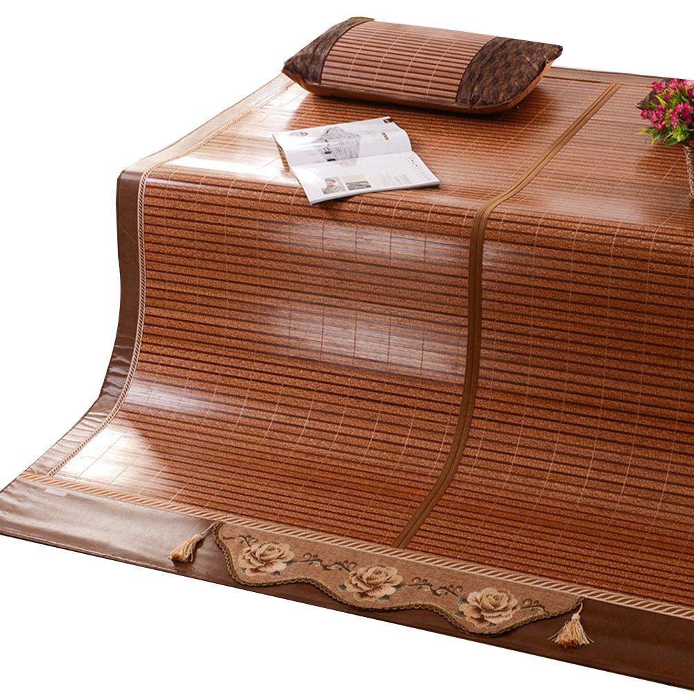 WENZHE Bambus Matratzen Sommer-Schlafmatten Strohmatte Teppiche Zusammenklappbar Hartmetall Spiegelsitz Doppelseitige Verwendung Zuhause Multifunktion, 1,5/1,8/2m (größe : 1.5×1.95m)