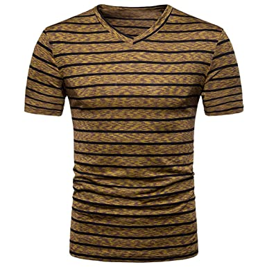 5111dd84b Youthny Homme T-Shirt à Rayure Casual Top Basic Shirt Manches ...