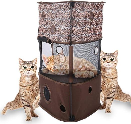 Zyyini Tienda de Escalada para Gatos, 3 Capas Tienda de Gatos para ...