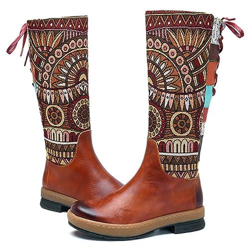 Socofy Botas Altas de Mujer hasta la Rodilla en Cuero Genuino Zapatos de Invierno Tacón bajo