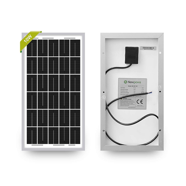 Newpowa 10W(Watts) 12V(Volts) Monocrystalline Solar Panel
